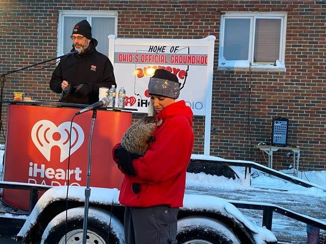 Ashley Kokas of Kokas Exotics holds Buckeye Chuck at WMRN studios in Marion. Chuck did not see his shadow and predicted an early spring for 2021.
