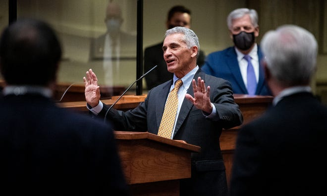 Senator Del Marsh announces that he is stepping down as president pro tempore of the senate during the first day of the legislative session in the Alabama Statehouse in Montgomery, Ala., on Tuesday February 2, 2021.