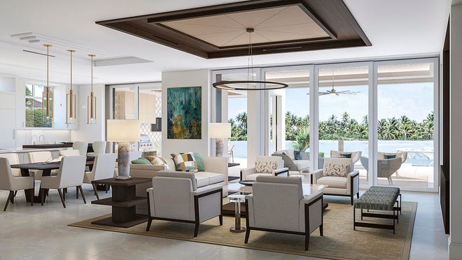 The great room features a custom wood and upholstered leather ceiling that adds definition to the space and articulates a transition to the sleek gourmet kitchen.