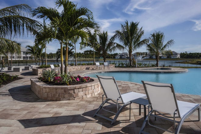 The 3,500 square foot resort pool with wade-in entry offers plenty of open swim space.