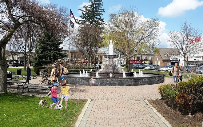 A rendering of the new fountain that will be built in Plymouth's Kellogg Park.