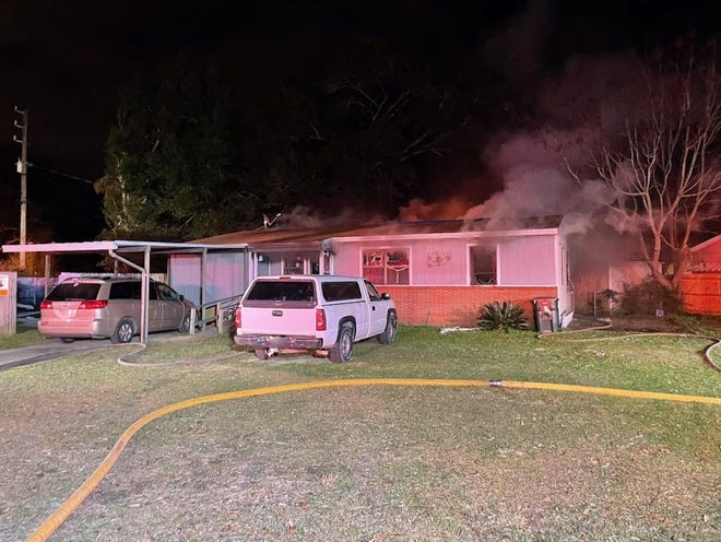 Escambia County firefighters were dispatched about 6:20 p.m. Monday to a structure fire at a single-story home in the 6700 block of West Jackson Street.