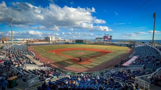 Hundreds of fans welcome the return of college baseball to Blue Wahoos Stadium in a junior college tournament including Pensacola State on Jan. 30, 2021.