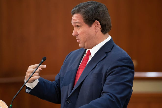 Gov. Ron DeSantis speaks during a press conference held in the Cabinet room at the Capitol Tuesday, Feb. 2, 2021.