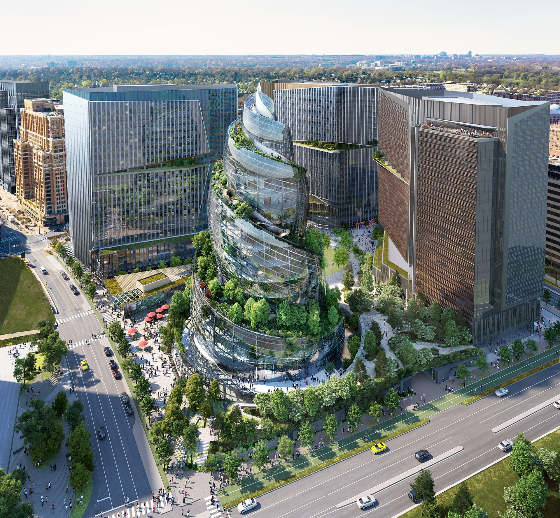Amazon unveils its HQ2 and double helix-inspired building in Arlington, Virginia