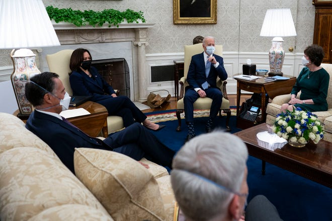 President Joe Biden and Vice President Kamala Harris hosted talks on a COVID relief stimulus plan with 10 Republican senators, including Mitt Romney (R-UT), Bill Cassidy (R-LA) and Susan Collins (R-ME), in the Oval Office at the White House February 01, 2021 in Washington, DC.