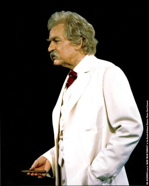 Hal Holbrook stars as Mark Twain in the theatrical stage production Mark Twain Tonight at the Brooks Atkinson Theatre in 2005.
