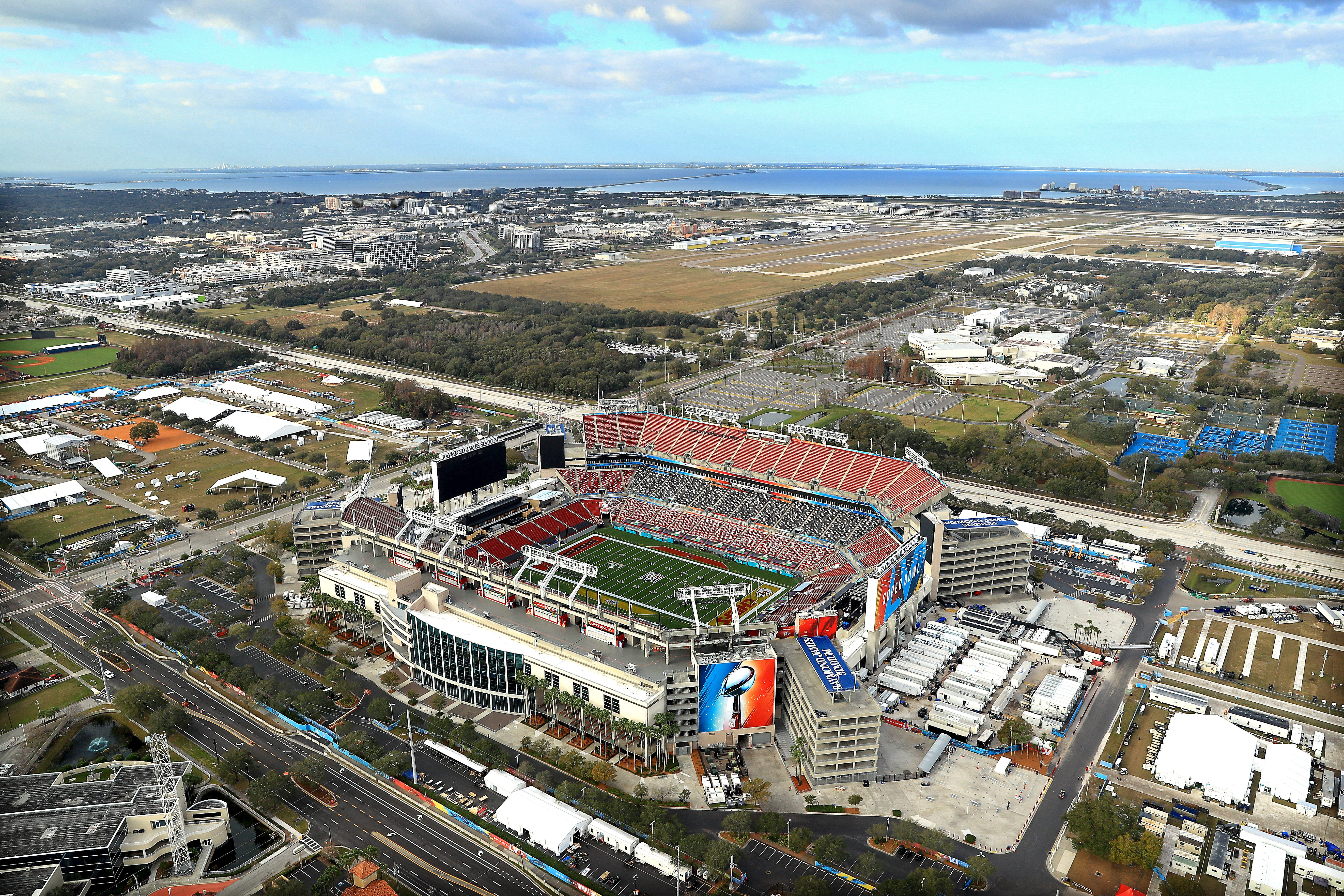 An aerial view of Raymond James Stadium ahead of Super Bowl LV.