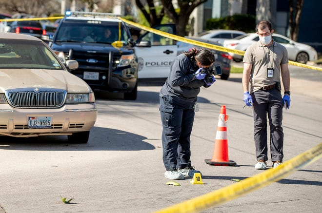 Austin police investigate a fatal shooting near the intersection of Oltorf Street and Willow Creek Drive on Wednesday. It was the third killing in Austin in less than a week.