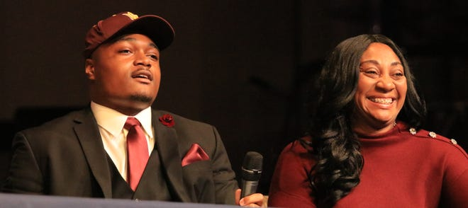 B.J. Green and mother Marva Green smile after Green announced his commitment to Arizona State