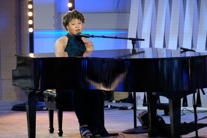 """Serrin Joy, a 2019 Firestone graduate, sings and plays the piano for her """"American Idol"""" audition Oct. 13 in San Diego."""