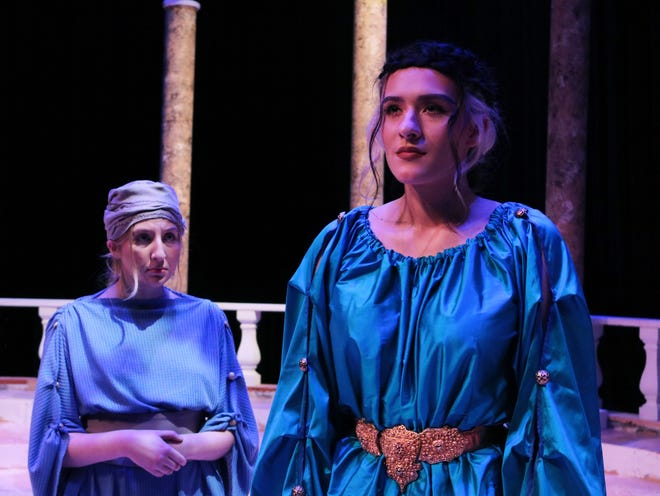 "Phaedra, played by Lauren Lantroop (front), and Oenone, played by Sophia Johnson (back), perform in WTAMU's production of ""Phaedra,"" which premieres on Friday."