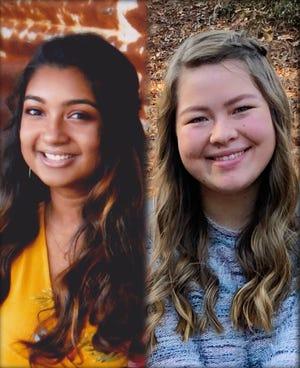 Davidson Fine Arts School senior Swetha Ananth, left, and Evans High School senior Lauren Kraft, right, were named semifinalists of the 20201 Jack Kent Cooke Scholarship.