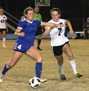 Corinne Newman (7), seen here in action against DeRidder, scored South Beauregard's only goal against Grace Christian on Monday, a match that ended in a 1-1 draw