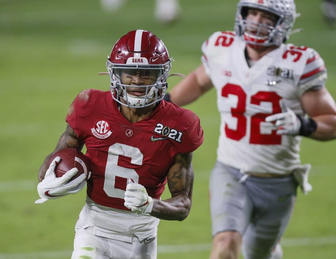 Alabama receiver DeVonta Smith caught passes against everyone who tried to cover him in the national championship win over Ohio State — cornerbacks, safeties, even linebackers such as OSU's Tuf Borland.