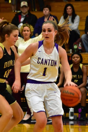 Canton's Tori Oaks looks to set up her teams' offense in a photo taken last year prior to COVID-19 changing everything. High School Girls' Basketball resumes Thursday, Feb. 4 at Alice Ingersoll.