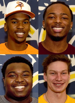 Clockwise from top left, Battle's Khaleel Dampier, who signed to play football at Missouri Valley College; Kendrick Harris Jr., who signed to play football at Concordia University Chicago; Jackson Huskey, who signed to play baseball at Quincy University; and Jamileon Kimble, who signed to play football at Missouri Valley.