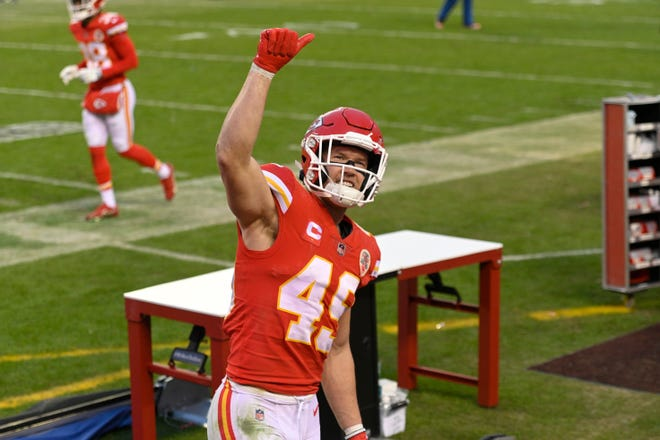 Kansas City Chiefs safety Daniel Sorensen celebrates after an NFL divisional-round playoff victory over the Cleveland Browns on Jan. 17 in Kansas City.