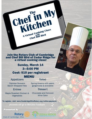 """Cambridge Rotary Club will host """"The Chef in My Kitchen"""" virtual fundraiser to benefit the Mid-Ohio Food Bank."""