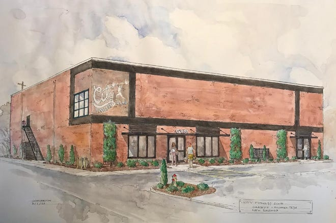 City Fitness owner Michael Tesh has purchased a 50,000-square-foot building in Lexington's Historic Depot District where he will move the gym and a real estate company he owns with partners. Pictured is artist Chip Holton's rendering of what the new Depot District building may look like once renovations are completed.