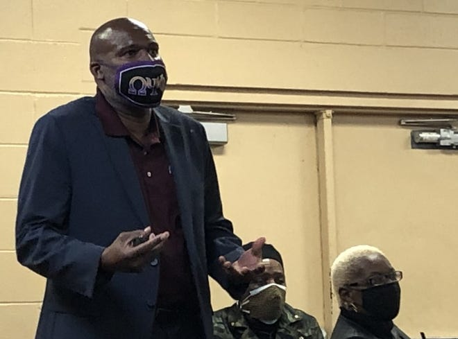 Randy Nelson leads a group of Spring Hill residents through a workshop aimed at better relations between the community and police. Nelson is director of Bethune-Cookman University's Criminal Justice Administration Graduate Program and the Center for Law & Social Justice.