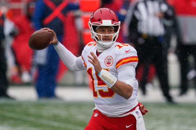Kansas City Chiefs quarterback Patrick Mahomes throws a pass during regular season game against the Denver Broncos. Mahomes has thrown for 15,922 yards since the start of 2018 with 131 TD passes, a stretch like no other quarterback in NFL history.