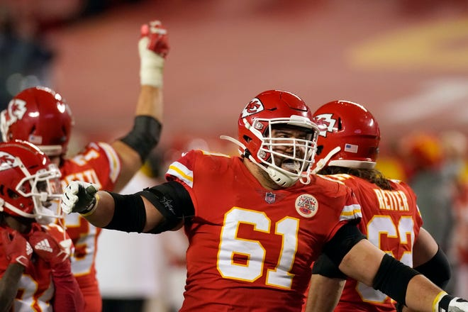 Kansas City Chiefs guard Stefen Wisniewski celebrates at the end of the AFC championship NFL football game against the Buffalo Bills. Wisniewski, who was cut by Pittsburgh earlier this season, is one of four backups who will be starting on the offensive line for the Chiefs in Sunday's Super Bowl 55.