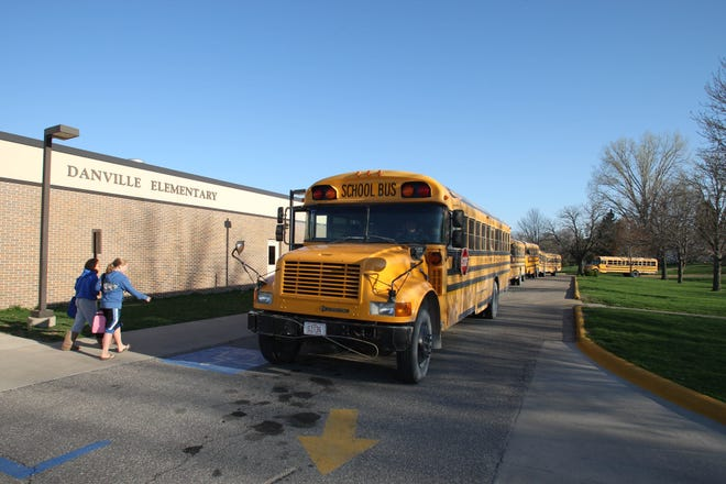 In this file photo, students arrive for school at Danville Elementary School in Danville. Voters in the Danville School District will be asked to vote whether to approve the district's revenue purpose statement for its Secure an Advanced Vision for Education dollars, which can be used for transportation, infrastructure and technology costs, among other things. Approval of the statement would not result in property tax changes.