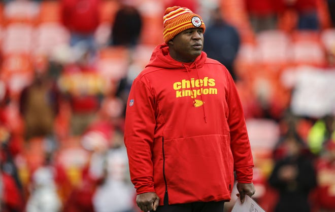 Kansas City Chiefs offensive coordinator Eric Bieniemy watches pregame warmups prior to the game against the Los Angeles Chargers at Arrowhead Stadium on December 29, 2019, in Kansas City, Missouri. (David Eulitt/Getty Images/TNS)