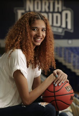 University of North Florida basketball player Jazz Bond is one of the contenders for ASUN player of the year and has already set school records for scoring and blocked shots.