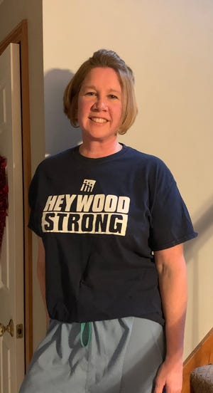 Patty Fleming, an ICU nurse at Heywood Hospital in Gardner, was one of 76 New England health care workers to be selected by Patriots team owner Robert Kraft to go to the Super Bowl on Sunday.