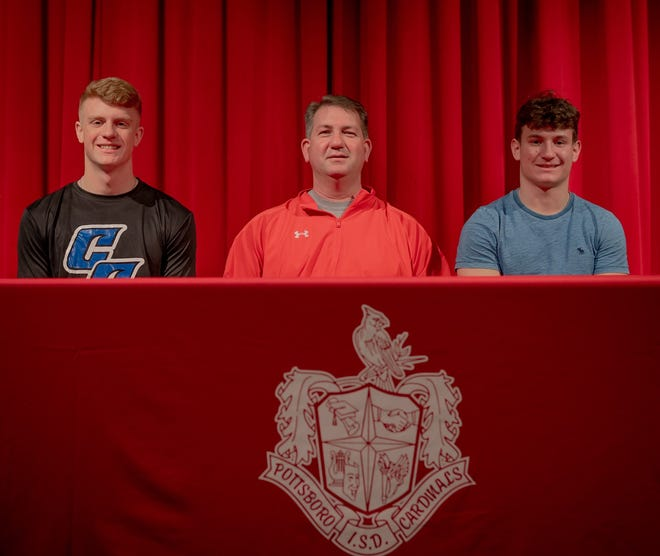 Pottsboro's Titus Lyons (left) and Braden Plyler signed their letters of intent to play football. Lyons is headed to Cisco and Plyler is headed to Southeastern.