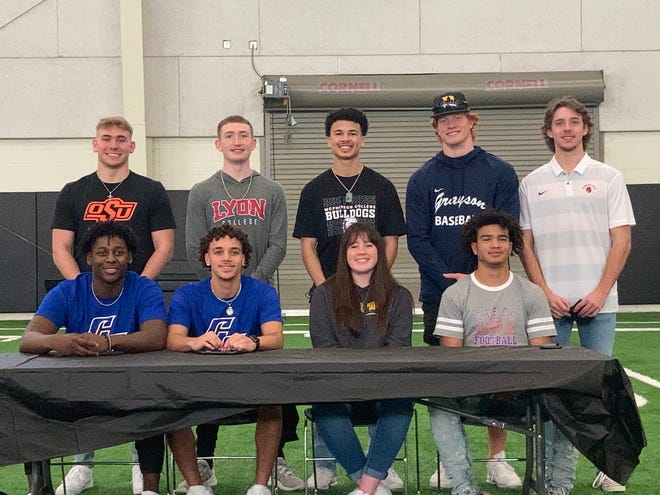 Denison had nine seniors sign to play their respective sports in college. Back row, from left: Asa Osbourn (Oklahoma State), Reece Stange (Lyon College) and Landon Ellis (McPherson College) for football and Cam Wheeler (Grayson) and Carson Baugh (Seminole State) for baseball. Seated, from left: Javonte Briscoe and Keleon Vaughn (Cisco) for football, Madison Carter (Central Christian) for softball and Keebler Wagoner (Cisco) for football.