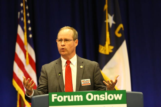 Congressman for North Carolina's Third Congressional District Dr. Greg Murphy speaks at the Jacksonville-Onslow Chamber of Commerce Forum Onslow in March 2019.