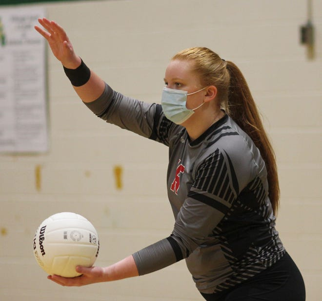 Jacksonville's Julianna Erickson was named the Coastal 3-A Conference volleyball player of the year after she helped lead the Cardinals to a share of the league's regular season title and the conference's tournament title. [Chris Miller / The Daily News]
