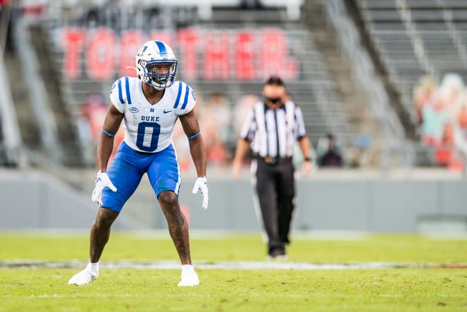 Safety Marquis Waters, who started 35 games the past three years at Duke and was one of the Blue Devils' top three tacklers in each of those seasons, is already involved in Texas Tech's winter conditioning program as a graduate transfer. Tech's 2021 class included 10 high-school signees in December, six transfers in January and the signing Wednesday of Coronado cornerback Imari Jones. Three transfers who joined the program last summer also are initial scholarship counters for 2021, Tech said. [PROVIDED BY DUKE ATHLETICS]