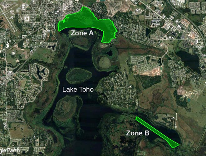 The FWC will begin spraying to control hydrilla at Lake Lake Toho beginning Monday. The two areas to be treated will be the north shore above Little Grassy Island (Zone A) and the center of Goblits Cove (Zone B).