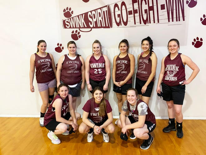 The 2020-21 Swink High School girls basketball team. Back row, from left, Charlotte Heberlie, Emma Hanagan, Jada Chavez, Edit Morales, Kate Cabrera and Jolie Bond. Front row, from left, Sidney Larrew, Hunter Wallace and Baylie Krueger.