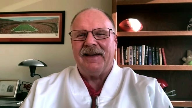 In this still image from video provided by the NFL, Kansas City Chiefs head coach Andy Reid speaks during Opening Night for the NFL Super Bowl 55 football game Monday, Feb. 1, 2021.