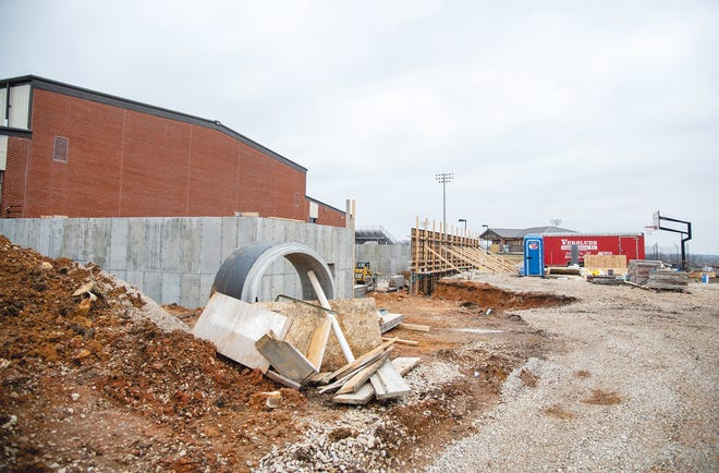 Eldon Middle School sees major work being completed on the south side of the building where the expansion will be located.