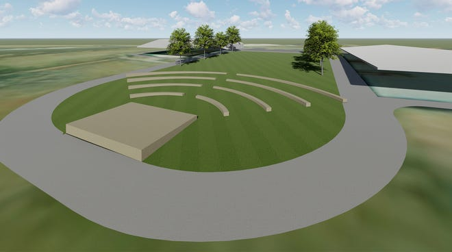 A proposed draft drawing of an outdoor ampitheater to be constructed at Rothwell Park designed by the Jefferson City architectural firm Bartlett & West.