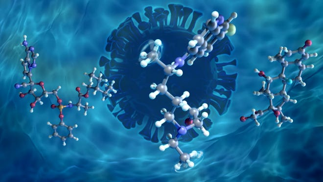 Using neutrons, ORNL researchers analyzed the molecular dynamics of previously proposed COVID-19 drug candidates remdesivir (left), hydroxychloroquine (center), and dexamethasone (right) in hydrated environments. Their results offer insights into how these molecules might behave in human cells.
