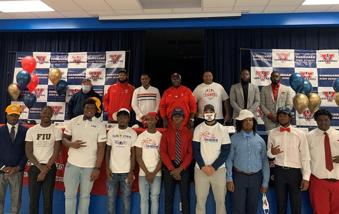 Ten Vanguard Knights signed National Letters of Intent on Wednesday to play football in college.