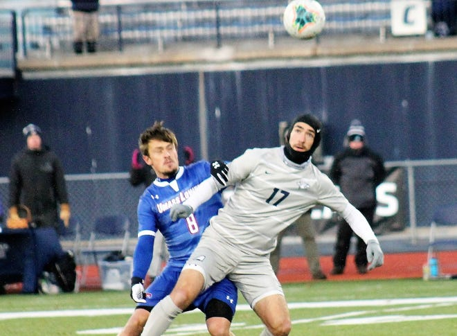 As a senior captain Exeter's Jacob Gould, shown here in a playoff game last season against UMass-Lowell, will lead the UNH men's soccer team on and off the field as the Wildcats are scheduled to open their pandemic delayed season later this month.