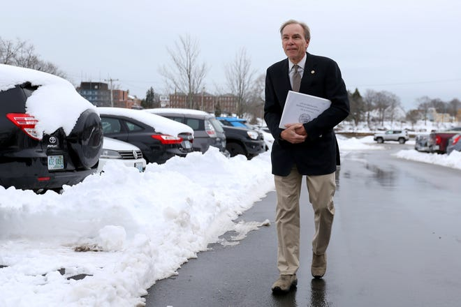 Portsmouth City Councilor John Tabor walks the Parrott Avenue parking lot, where he has raised the possibility of charging for parking, Wednesday, Feb. 3, 2021.