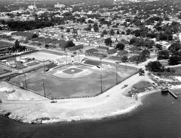 An aerial view of a baseball field in Pensacola in 1959. Baseball has a long, but strange, history in Florida.