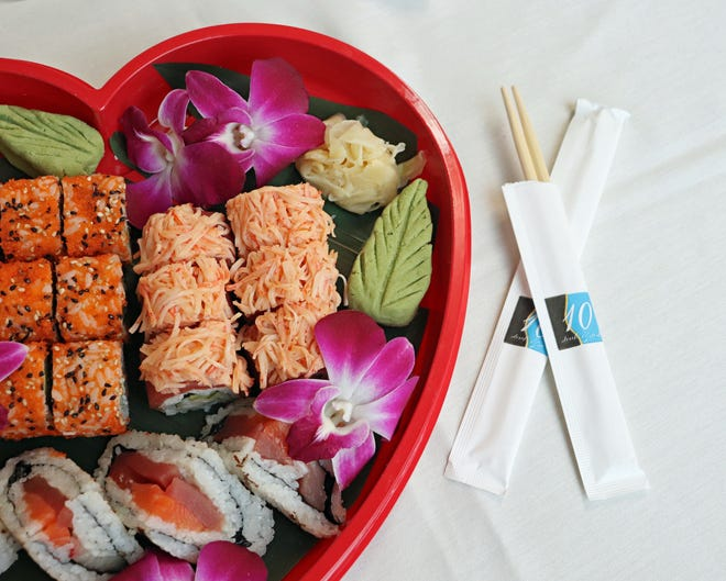 Ten Prime Steak & Sushi has a sushi box to go for Valentine's Day. It comes with rose Prosecco and chocolate-covered strawberries.