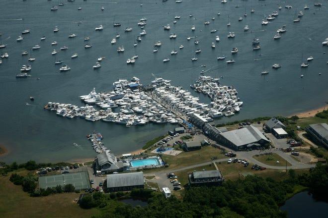 An aerial view of Champlin's Marina on Block Island.