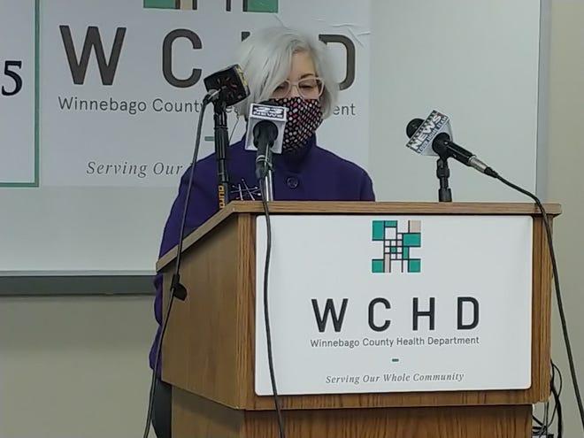 Winnebago County Health Administrator Sandra Martell addresses the media Wednesday, Feb. 3, 2021.