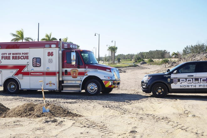 A North Port Fire Rescue Department ambulance from Station 86 and a North Port Police cruiser were parked just beyond the shovels used Wednesday morning for the groundbreaking of a new 24,300-square-foot City of North Port Public Safety Building in Wellen Park. Once completed, the facility will be a combined fire station/police substation and technically known as Station 86. Currently, city fire and rescue personnel serving Wellen Park are operating out of Sarasota County Fire Rescue Station 26, near State College of Florida.